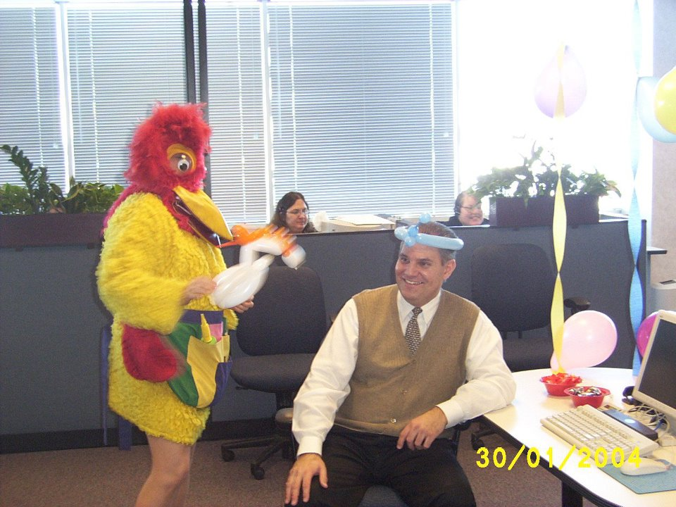 Chicken Singing Telegram. Hire a Clown, Banana in Cook County, IL. Du-page County, IL. Lake County, Indiana. Call (312) 613-6804